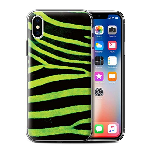 Stuff4 Gel TPU Hülle / Case für Apple iPhone X/10 / Gelb Muster / Zebra Tier Haut/Print Kollektion Grün