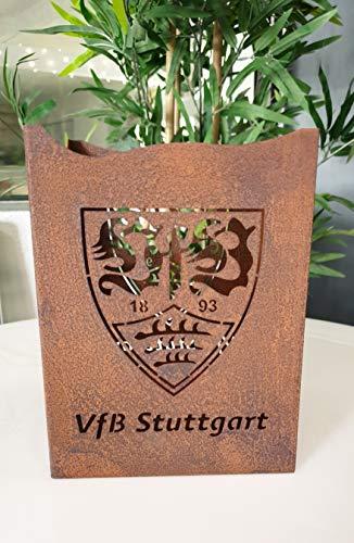 VfB Stuttgart Windlicht/Tischlicht/Gartenlicht, Cortenstahl, Rostoptik, quadratischeForm
