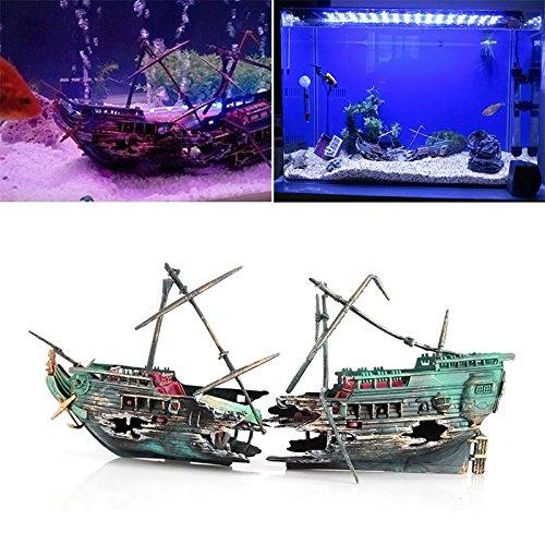 Rokoo Gesunken Wrack Boot Aquarium Ornament Schiff Segelboot Zerstörer Air Split Schiffbruch Aquarium Höhle Dekor Gesunkenes Schiff Dekorationen