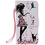 Coffeetreehouse iPhone 7 Folio Flip Coque,iPhone 7 Coque de Protection, Pretty Personnalité Très Protecteur Bonne Qualité PU Cuir Portefeuille et Card Slot Étui en Flip Cover /Anti-rayures Smart Case pour iPhone 7 - papillon fille