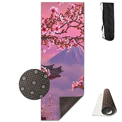 FGRYGF Japanese Cherry Blossom Mt.Fuji Yoga Mat - Tappetino Yoga - Non-Slip Lining - Easy To Clean - Latex-Free - Lightweight And Durable - Long 180 Width 61cm