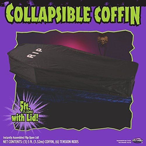 Fearscape Aufklappbarer Sarg 1,5 Meter Halloween Deko aus Vinyl in Tasche Vampir Bett
