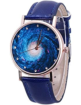 SSITG Frauen Galaxie Leder Armbanduhr analoge Quarz Uhr wasserdichte Armbanduhr