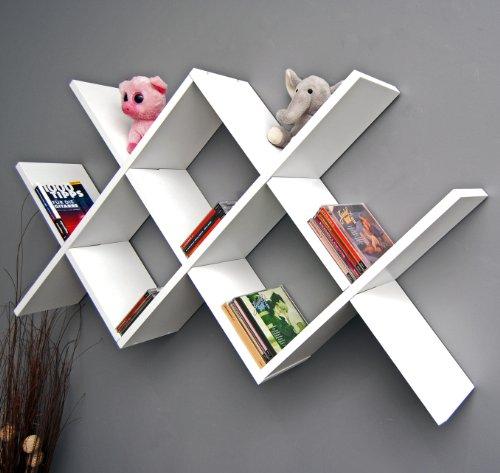 Design Retro Regal Caro Weiß als Wand- oder Standregal Bücher CD Hängeregal