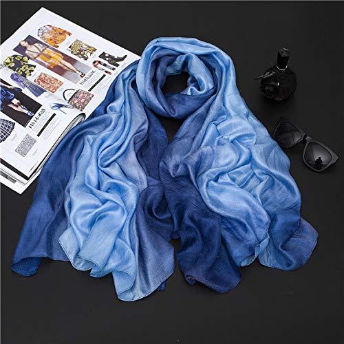 YOUR LIFE Seidenschal Schal niederländische Flachs weibliche Hand bemalt EIN Gradient von Baumwolle Strandtuch, Sonnencreme Garn Handtuch 12# Dark Blue Gradient