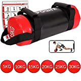 POWRX Power Bag 5-30 kg Kunstleder Fitness Bag für Functional Fitness (15 kg Schwarz/Rot)