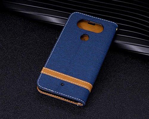 LEMORRY LG Q8 / H970 Custodia Pelle Cuoio Flip Portafoglio Borsa Sottile Bumper Protettivo Magnetico Morbido Silicone TPU Cover Custodia per LG Q8 H970, Stile del Denim Verde Profondo blu
