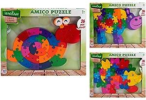 GLOBO- Wooden Puzzle 26 Piezas Numbers/Letters Cm40X30 3Asstd (36888), (1)