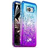 OKZone Galaxy S8 Plus Hülle[mit HD-Schutzfolie][Kristall Diamant Gradient] Farbverlauf Durchsichtig Flüssig Treibsand Silikon TPU Bumper Case Cover für Samsung Galaxy S8 Plus (Blau Lila)
