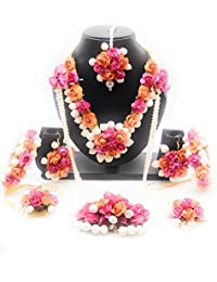 ORANGE / PEACH COLORE ROSE AND PINK COLORS ROSE AND WHITE COLOR JASMINE / MOGRA FLOWERS ENRICH MANGTIKKA , 1 PAIR...