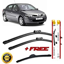 Set of 3 flat blade wiper blades for RENAUL T MEGANE II 2001-2012 rear