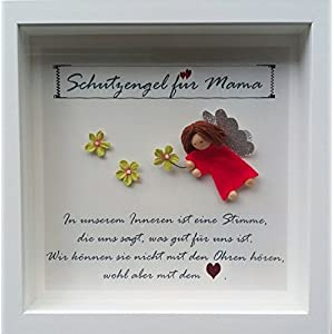 Individuelles Geschenk Mama,Oma, Opa, Muttertag, Bild im weißen Rahmen mit Schutzengel für Mama, Oma, Opa,