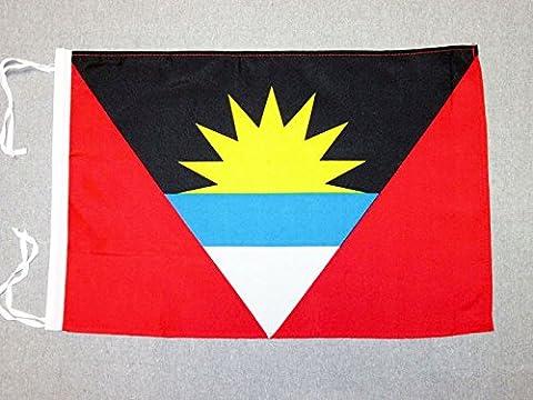 FLAGGE ANTIGUA UND BARBUDA 45x30cm mit kordel - ANTIGUA AND BARBUDA FAHNE 30 x 45 cm - flaggen AZ FLAG Top Qualität