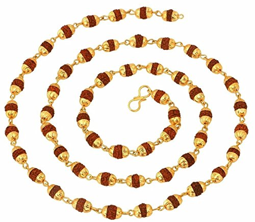 Handicraft Kottage Gold Plated Unisex Rudraksh Chain/Mala (28 cms)