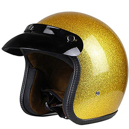 Casque de Moto 3/4 Jet Vintage Open Face pour Homme, Couverture à Paillettes pour Motocross Gold M
