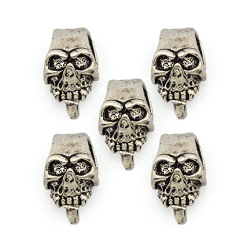 Colore argento cranio del metallo abbellimenti con 2 Side Loop giù Hook- per Gioielli, Abbigliamento, finiture e accessori - Confezione da 5