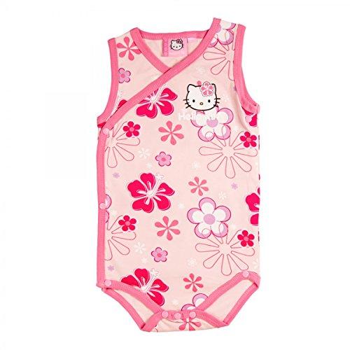 Hello Kitty Sanrio Baby Body mit Blumenmotiv - Mädchen | Kurzarm | Pink | Größe 50/56 (Kitty Für Mädchen Hello Sweatshirt)