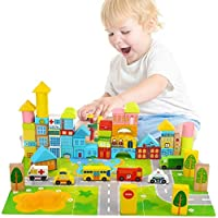 Wooden Building Blocks City Blocks Wood Set Educational Stacking Toy for Kids Toddlers Preschool,62 Pieces