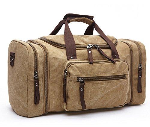 WOMJIA klassisch Reisetsache Sporttasche Weekender Tasche Handgepäck aus Canvas Segeltuch Vintage 35 Liter Khaki
