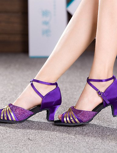 La mode moderne Non Sandales Chaussures de danse pour femmes personnalisables Satin Latin Cuban Heel Brown/violet US4-4.5/EU34/UK2-2.5/CN33