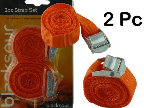 Nuovo - Confezione da 2 x Cinghie - Resistente - 25 mm x 2,0 m - resistenza - ideale sicura carichi on rimorchi/tetto auto/camper/tiracinghia