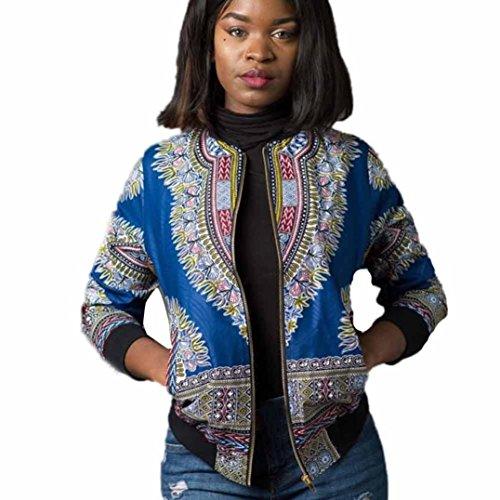 Frau Beiläufig Kurz Jacke Hirolan Lange Hülse Mode afrikanisch Drucken Dashiki Damen Dashiki Cocktailkleid Reißverschluss Jahrgang Outwear (S, Blau)