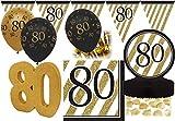 27 Teile Dekorations Set zum 80. Geburtstag oder Jubiläum - Party Deko in Schwarz & Gold