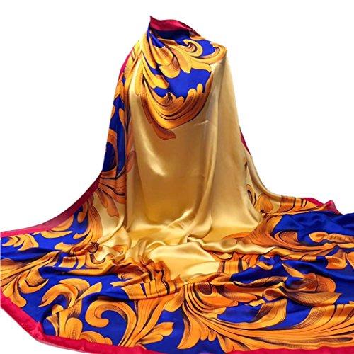 YunYoud Damen Drucken Hijab Schals Frau Schön Lange Wickelschal Seide-Satin Platz Schal Weich Schal Super Komfortabel Schals (140*140CM, Gold)