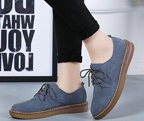 JRenok Mocassins Femme Loisir Chaussures de Ville Cuir Sneakers Casuel Confort Style Britannique Antidérapante 35-40 Bleu