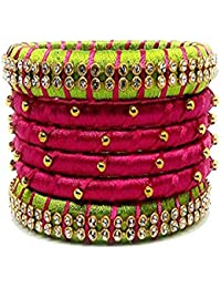 8721944ef Party Wear Handmade Silk Thread Bangle Pink and Green Color Set of 6 Bangles