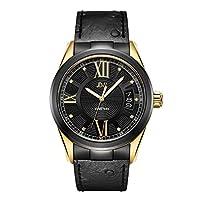 JBW Luxury Men's Bond 9 Diamonds Ostrich Embossed Pattern Leather Watch - J6372A