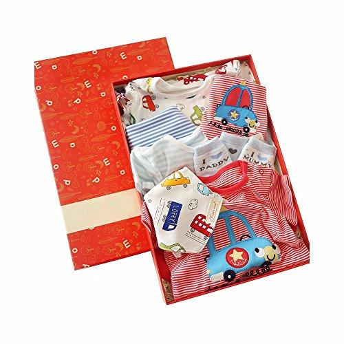 MLF-Ensembles de vêtements pour bébés Vêtements de coton à manches courtes+Chaussettes bébé Bib+Triangle,24 mois