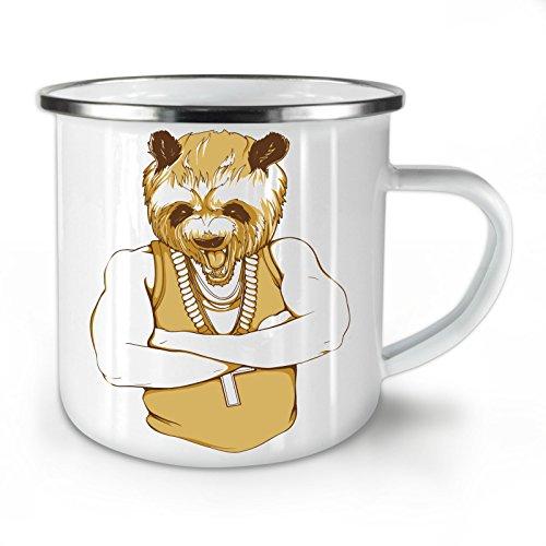 Wellcoda Panda Mensch Cool Gangster Emaille-Becher, Bär - 10 Unzen-Tasse - Kräftiger, griffiger Griff, Zweiseitiger Druck, Ideal für Camping und Outdoor