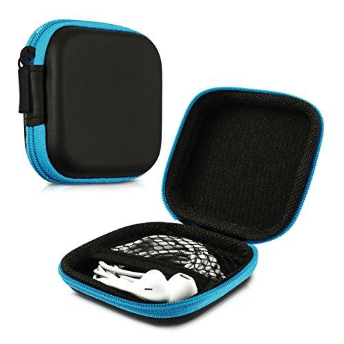 hörer Tasche - In Ear Headphones Schutztasche - Earphones Etui Case Cover Hülle für Kopfhörer in Blau ()