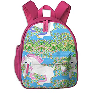 Childrens Backpack for Girls,Rainbow Unicorn Stripe with Flowers_4209-eclectic_House,for Children's Schools Oxford Cloth (Pink)