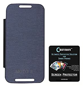 Chevron Flip Cover For Moto E With Chevron HD Screen Guard (Pebble Blue)