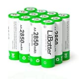 LiBatter (12 Paquetes) AA 2850mAh Ni-MH Baterías Recargables de Alta Capacidad Ciclo de 500-1000 baterías Recargables