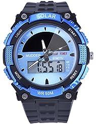 Mudder Reloj Deportivo Solar Impermeable 50M Reloj Militar de Movimiento LCD para Hombres, Azul