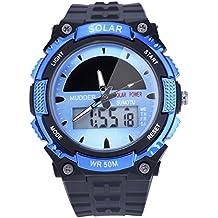 Reloj Deportivo Solar Impermeable 50M Reloj Militar de Movimiento LCD para Hombres, Azul