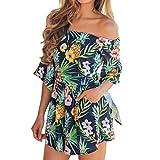 Briskorry Damen Retro Blüte Drucken Freizeit Kleid Mit U-Boot-Ausschnit Frill Sleeve Bandeau Kleid Basic Casual Minikleid Elegante Abschlussballkleider