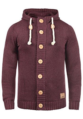 !Solid Peer Herren Strickjacke Cardigan Grobstrick Winter Pullover mit Kapuze, Größe:M, Farbe:Wine Red Melange (8985)