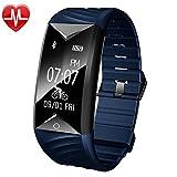 YAMAY Fitness Armband mit Pulsmesser,Fitness Tracker mit Herzfrequenz Wasserdicht IP67 Aktivitätstracker Pulsuhren Smartwatch Schrittzähler Armbanduhr mit Schlafmonitor Kalorienzähler Vibrationsalarm Anruf SMS Whatsapp Beachten kompatibel mit iPhone Android Handy(Blau)