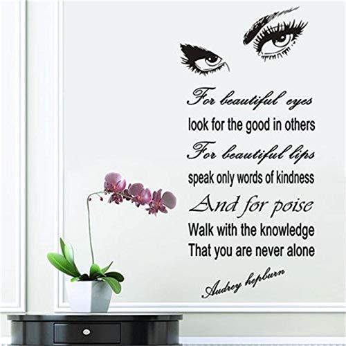 dekor wandaufkleber Audrey Hepburn Augen Vinyl wandtattoo Zitate Kunst Schlafzimmer tapete Hause Wohnzimmer 57x125 cm ()