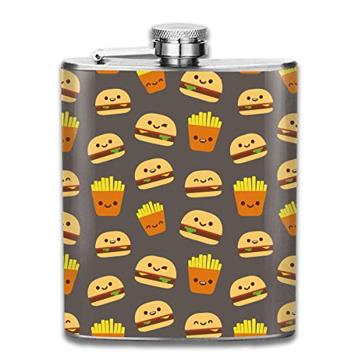 Hamburger Fries-01 Pocket Leak Proof Liquor Hip Flask Alcohol Flagon 304 Stainless Steel 7OZ Gift Box Outdoor