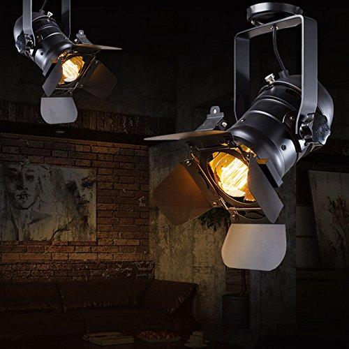 Hoobor House industriale americano personalità retrò luci luce da soffitto Lampade da soffitto compresi E27lampadina led versione massima, nero, LED4W bianco
