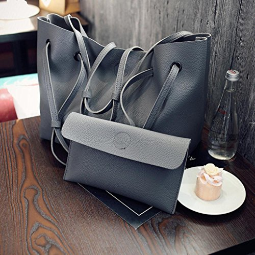 Longra Vestito del sacchetto di spalla + il sacchetto di mano del modello Lichee dell'unità di elaborazione delle donne Grigio scuro