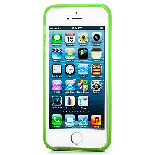 Saxonia Apple iPhone SE 5 5S Hülle + Schutzfolie Case Ultra Slim Cover Silikon Schutzhülle Handy Backcover Bumper Grau Grün