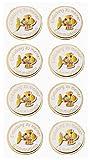 CREApop® Sticker Einladung Kommunion, Fisch gold, 8 St.