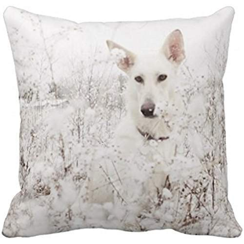 Gorgeous ornaments White German Shepherd In The Snow Throw Pillow Case 18