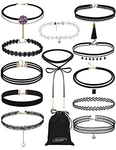 Mudder Choker Necklace Set Stretch Velvet Tattoo Lace Choker Necklaces with Pendant, 12 Pieces